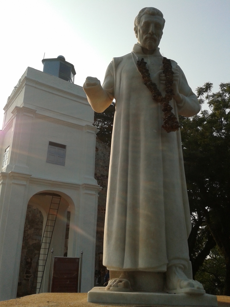 Statue of St. Francis Xavier outside St. Paul's church.