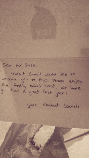 A sweet note from the student council.