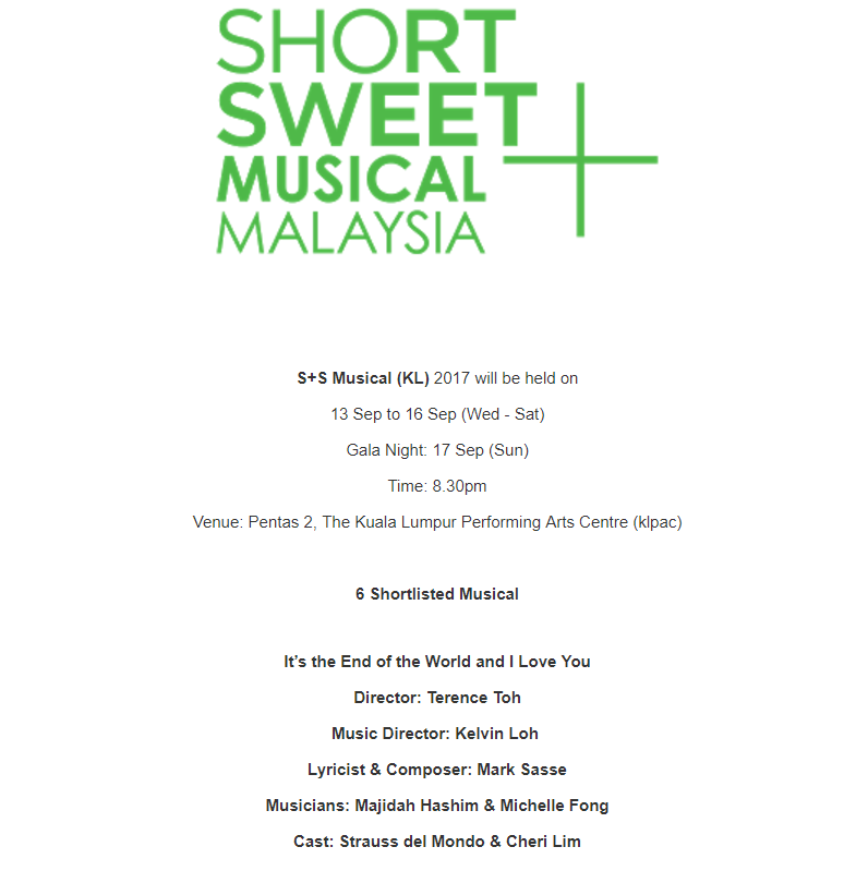 short and sweet musical 2017